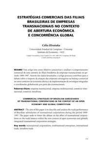 ESTRATEGIAS COMERCIAIS DAS FILIAIS BRASILEIRAS DE