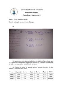 Dilatação - Relatório - Física II
