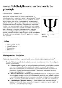 Anexo_Subdisciplinas e áreas de atuação da psicologia – Wikipédia  a enciclopédia livre