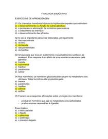 Exercicios de Fisiologia Sistema Endocrino com Gabarito