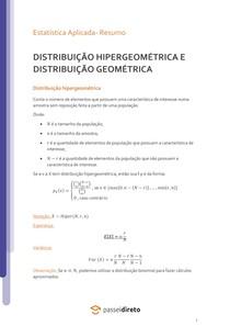 Distribuição Hipergeométrica e Geométrica - Resumo
