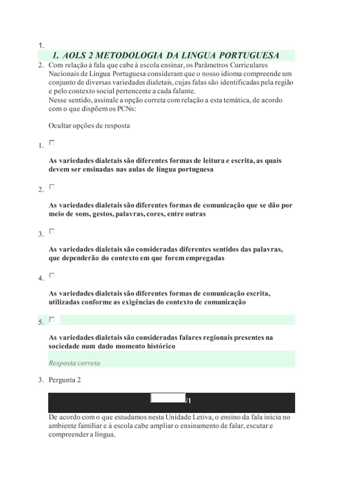 Pre-visualização do material AOLS 2 METODOLOGIA DA LINGUA PORTUGUESA - página 1