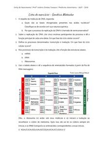 Lista de exercícios - Genética Molecular