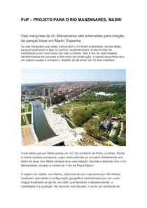 PUP – PROJETO PARA O RIO MANZANARES, MADRI