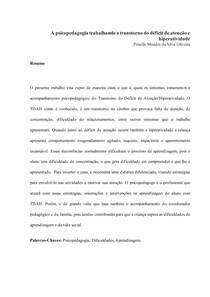 Artigo Científico - Priscila Mendes da Silva Oliveira - Pós Psicopedagogia