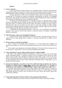 Questionário Filme O Óleo de Lorenzo