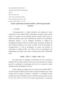 Relatório da pratica de água oxigenada -analexp II UFRJ