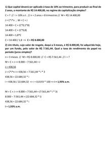 MATEMÁTICA FINANCEIRA - AULA 06 - EXERCÍCIOS