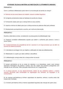 ATIVIDADE TELEAULA MATÉRIA ALFABETIZAÇÃO E LETRAMENTO UNIDADE I