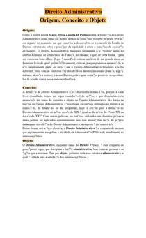 Direito Administrativo - Origem, Conceito e Objeto
