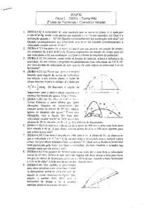 Física I - Lista de exercícios - Cinemática Vetorial