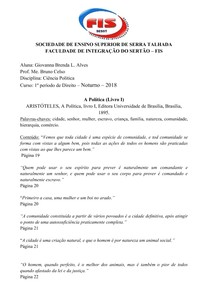 A POLÍTICA - Aristóteles - (Livro I)