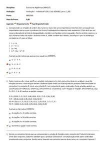 Estruturas Algébricas (MAD17)   Avaliação I