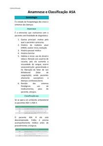 Anamnese e classificação ASA