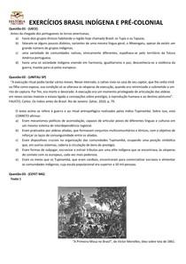Questões Brasil Indígena e Pré-colonial