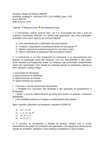 Avaliação II  - Gestão de Pessoas - Uniasselvi (Flex)