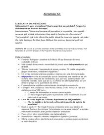 Resumo G1 de Jornalismo
