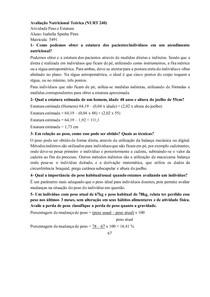 Avaliação Nutricional - Peso e Estatura - Exercício