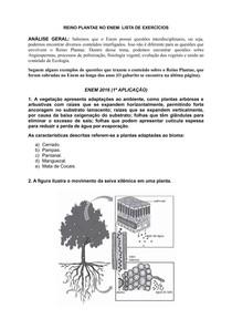 REINO PLANTAE NO ENEM: LISTA DE EXERCÍCIOS