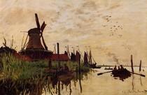 Windmill At Zaandam-Claude Monet