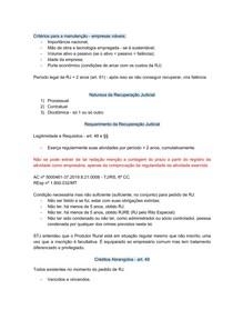 DIREITO FALIMENTAR - PROCEDIMENTOS DA RJ
