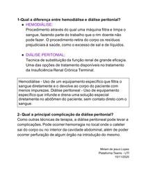 1-Qual a diferença entre hemodiálise e diálise peritonial