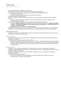 Anatomia patológica e fisiopatologia - Tuberculose