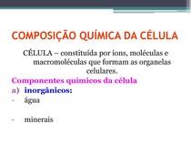 Aula 1  Composição Química da Célula