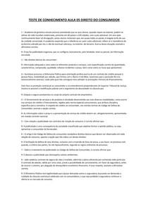 TESTE DE CONHECIMENTO AULA 05 DIREITO DO CONSUMIDOR