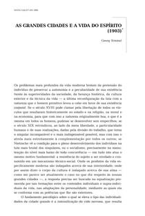 AS GRANDES CIDADES E A VIDA DO ESPÍRITO