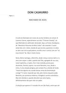 Dom Casmurro de Machado de Assis (fichamento)