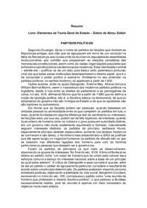 Elementos de Teoria Geral do Estado Dalmo de Abreu Dallari - PARTIDOS POLITICOS
