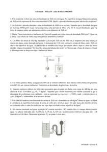 Lista Fluidos -  estática e dinâmica de fluidos