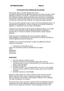 PATOLOGIA GLANDULAS SALIVARES ESTOMATO