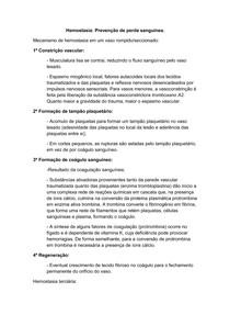 Resumo Hemostasia