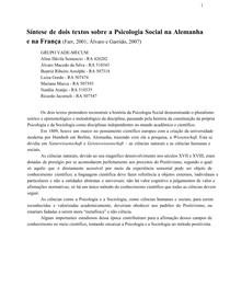 Psicologia Social - Síntese França e Alemanha