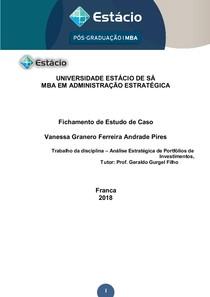 Biblioteca 21459   FICHAMENTO DE CASO   ANALISE ESTRATEGICA DE PORTFOLIOS DE INVENSTIMENTOS