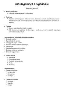 Resumo Biossegurança e Ergonomia 1