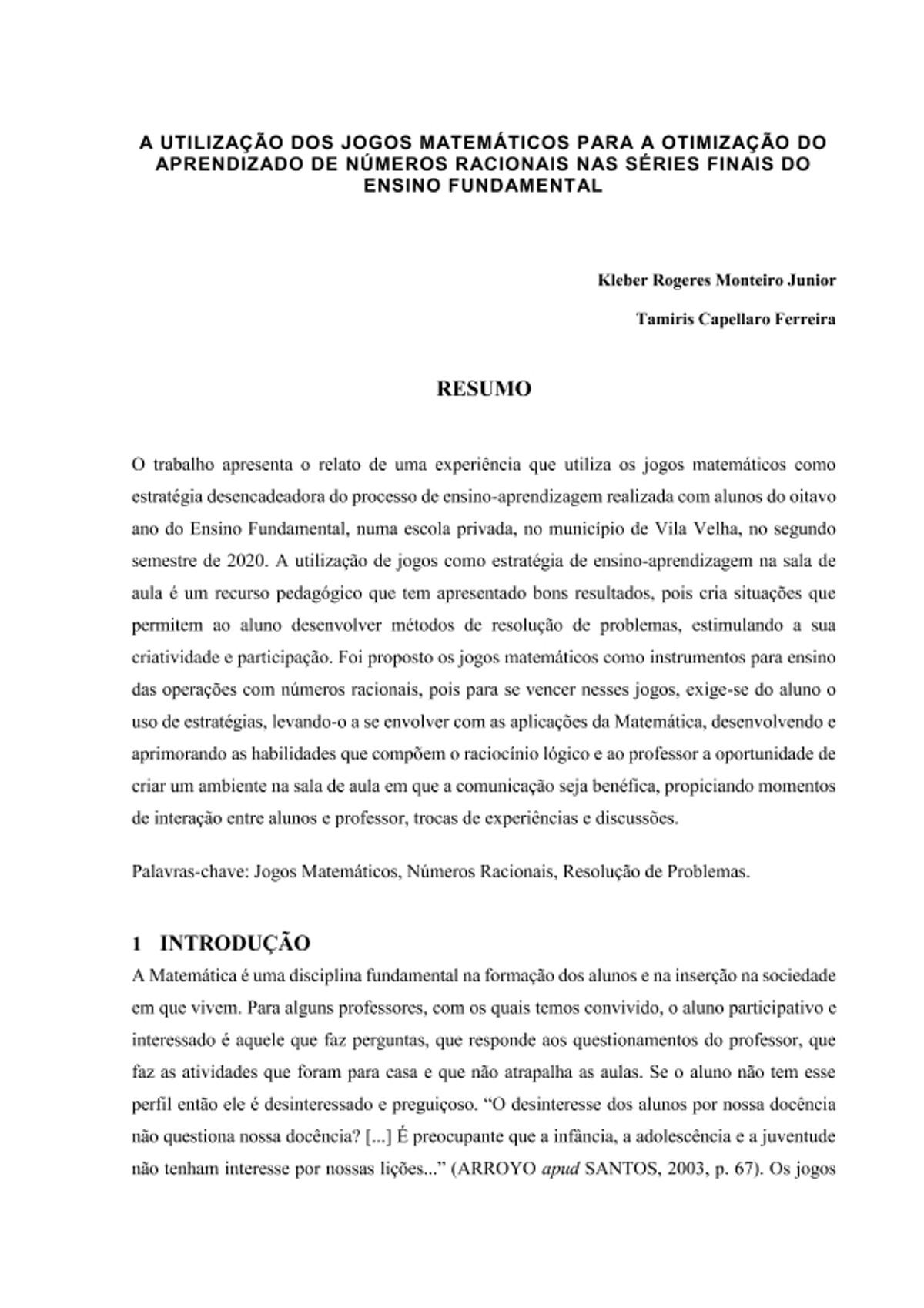 Pre-visualização do material TCC - MATEMÁTICA - ESTÁCIO DE SÁ - página 1