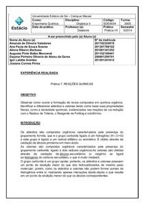 Relatório Prática 7 reações químicas