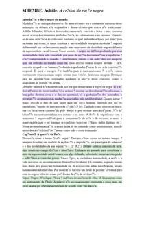 MBEMBE, Achille A crítica da razão negra