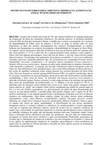 OPÇÕES NO USO DE FORRAGEIRAS ARBUSTIVO ARBÓREAS NA ALIMENTAÇÃO