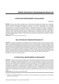 Psicologia e sexualdiade no sec xxi