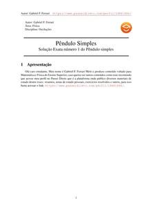 Pêndulo simples 04 - Solução exata número 1