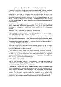 MÉTODOS DE CARACTERIZAÇÃO E IDENTIFICAÇÃO EM FITOQUÍMICA