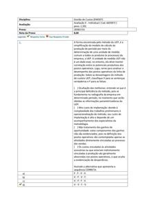 AVALIAÇÃO II GESTÃO DE CUSTOS