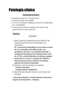 Patologia clínica - leitura de exames