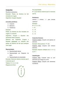 Revisão Conjuntos - Conceitos, representações, classificação, pertinência, subconjuntos, e conjunto universo.