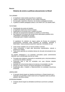 Resumo: Sistema de ensino e políticas educacionais no Brasil