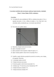 4 exercícios resolvidos sobre movimento uniforme, função horária, velocidade